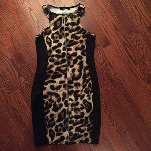 Sexy Leopard Skin Women's Dress w/ Zippered Front